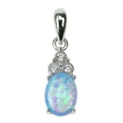 Solitaire - Opal smykke vedhæng med blå opal sten, 925 Sterling sølv & rhodium belægning