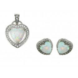Hjerte - Hvid Sne Opal Smykkesæt med øreringe og vedhæng med hvid sne opal sten, 925 Sterling sølv, zirkonia & rhodium belægning