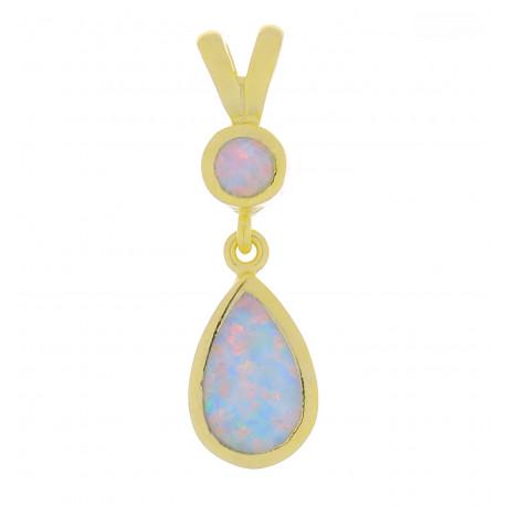 Hydra - Opal smykke vedhæng med hvid sne opal sten, 925 Sterling sølv & guld belægning