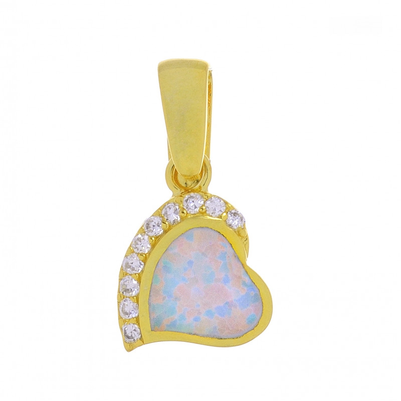 Eros hjerte - Opal smykke vedhæng med hvid sne opal sten, 925 Sterling sølv & rhodium belægning