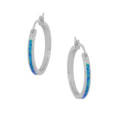 Kreta - Opal øreringe med blå opal sten, 925 Sterling sølv & rhodium belægning