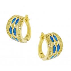 Hellas - Opal øreringe med blå opal sten, 925 Sterling sølv & guld belægning