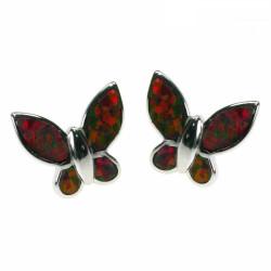 Sommerfugl - Opal øreringe med orange ild opal sten, 925 Sterling sølv & rhodium belægning