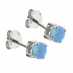 Havblå Oval - Opal øreringe med blå opal sten, 925 Sterling sølv & rhodium belægning