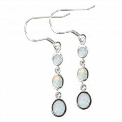 Tre Dråber - Opal øreringe med hvid sne opal sten, 925 Sterling sølv & rhodium belægning