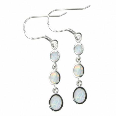 Disk - Opal øreringe med hvid sne opal sten, 925 Sterling sølv & rhodium belægning