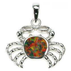 Oval - Opal smykke vedhæng med orange ild opal sten, 925 Sterling sølv & rhodium belægning