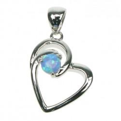 Himmelblå Opal Hjerte - Sølv smykke halskæde vedhæng med blå opal sten, 925 Sterling sølv & rhodium belægning