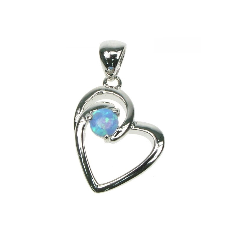 Himmelblå Opal Hjerte smykke vedhæng med opal sten og 925 Sterling sølv
