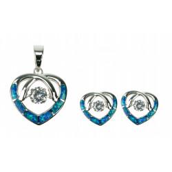 Opal Hjerte - Opal smykkesæt med vedhæng + øreringe med blå opal sten, zirkonia og 925 Sterling sølv