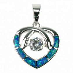 Opal hjerte - Sølv smykke halskæde vedhæng med blå opal sten, 925 Sterling sølv & rhodium belægning