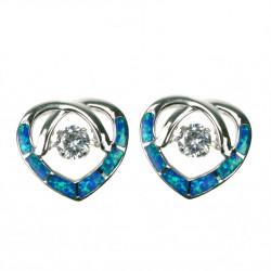 Opal hjerte - Opal øreringe med blå opal sten, 925 Sterling sølv, Zirkonia & rhodium belægning