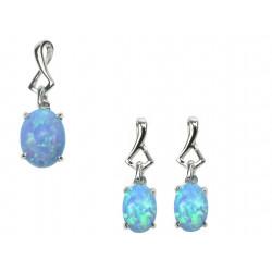 Oval - Opal smykkesæt vedhæng + øreringe med blå opal sten, 925 Sterling sølv og rhodium belægning