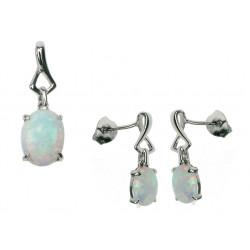 Oval - Opal smykkesæt i sne opal (vedhæng + øreringe)