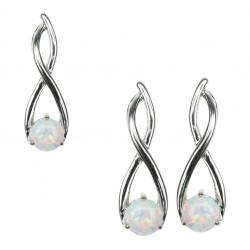 Twister - Opal smykkesæt i sne opal (vedhæng + øreringe)
