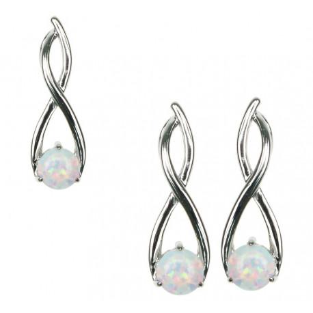 Twister - Livets Træ - Opal smykkesæt i sne opal (vedhæng + øreringe)
