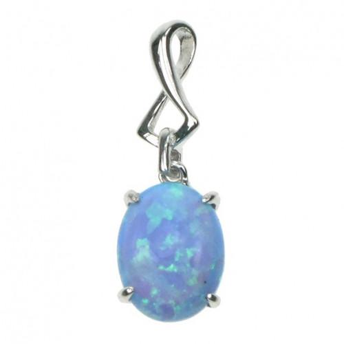 Oval - Blå opal (vedhæng)