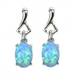 Oval - Opal øreringe med blå opal sten, 925 Sterling sølv & rhodium belægning