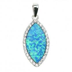 Marquise - Stort opal vedhæng med blå opal sten, 925 Sterling sølv & rhodium belægning