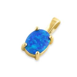 Oval - opal øreringe med 925 Sterling sølv, hvid opal sten & guldbelægning