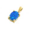 Oval - opal øreringe med 925 Sterling sølv, blå opal sten & guldbelægning