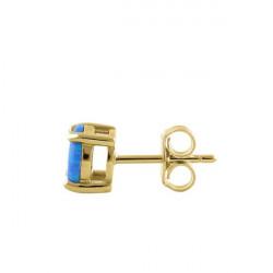 Havblå Oval - Opal Smykkesæt med øreringe og vedhæng med blå opal sten, 925 Sterling sølv & rhodium belægning