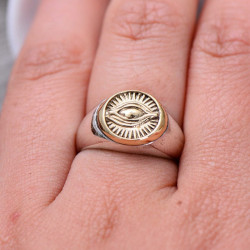 Herrering med 925 Sterling Sølv Eye of Providence ring/Alt-Seende Øje/Frimurer ring one-size
