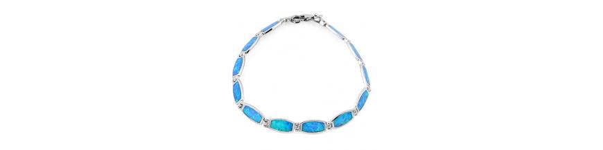 925 Sterling Sølv Armbånd Med Blå Opal Sten, Hvid Opal Sten & Ildopal