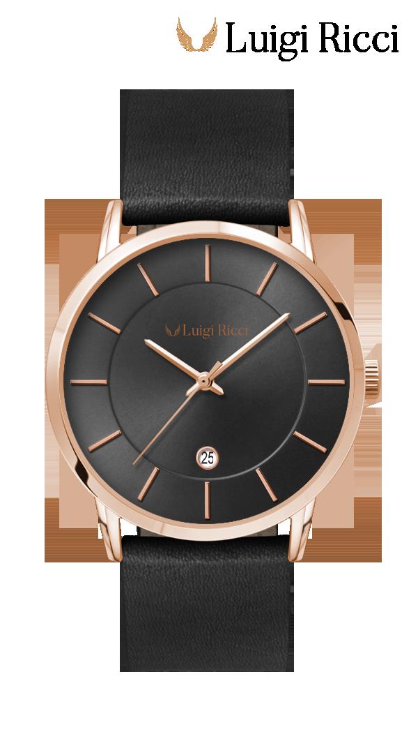 Luigi Ricci Roma Classica italisensk klassisk sort ur med læderrem