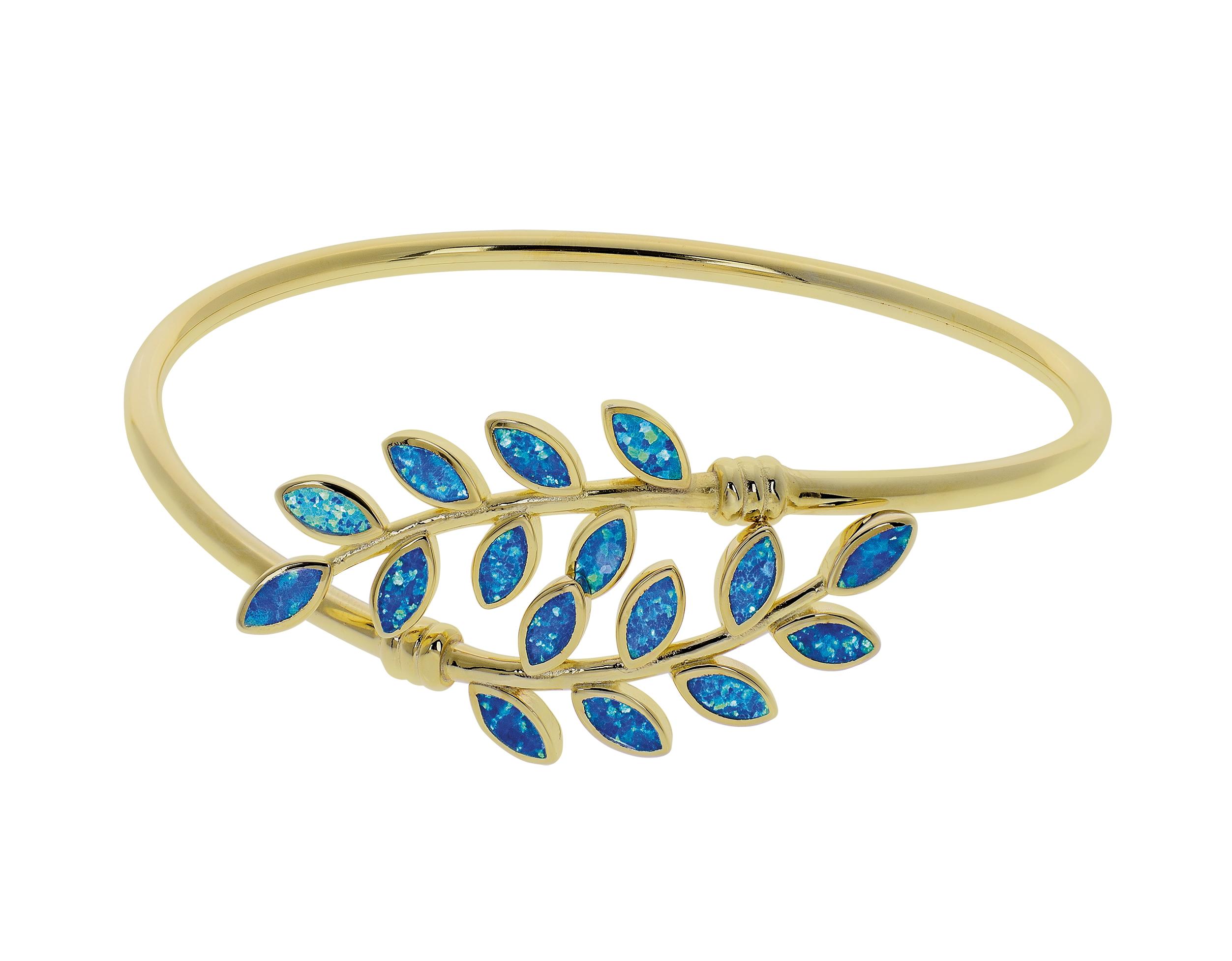 Opal armbånd med blå opal ædelsten, sølv og guldbelægning