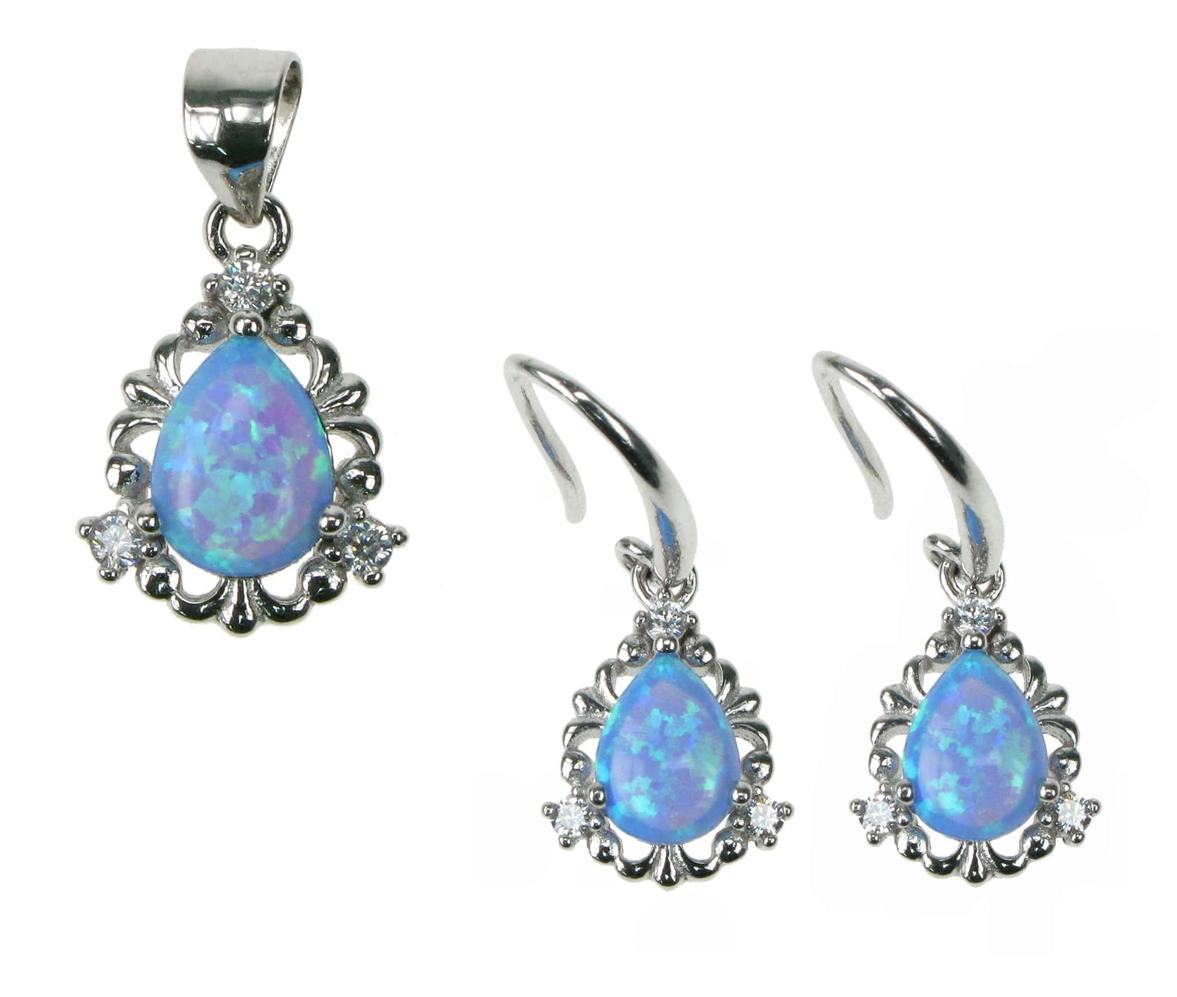 Dråbe blå opal smykkesæt med 925 Sterling sølv