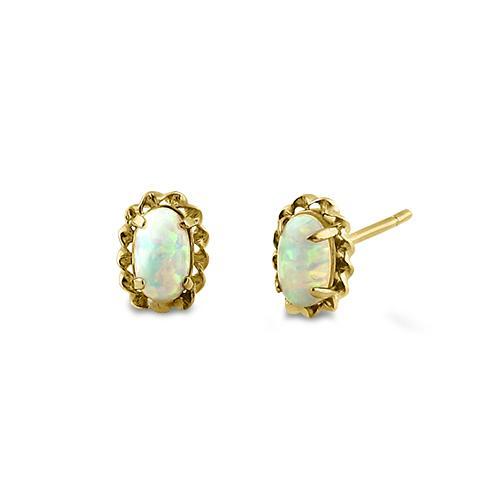 Guld øreringe med opal sten