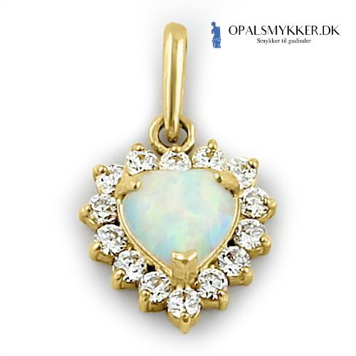Guld halskæde med hvid opal sten