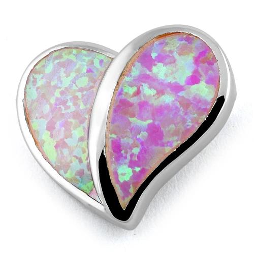 Opal vedhæng med sølv og pink opal sten