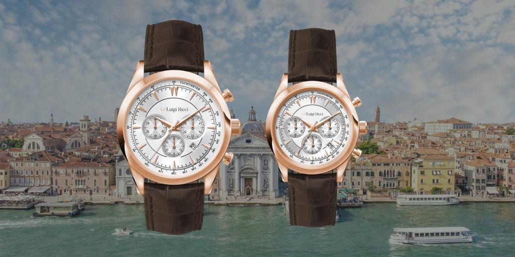 Luigi Ricci luksus ure med rosé guld og læder rem
