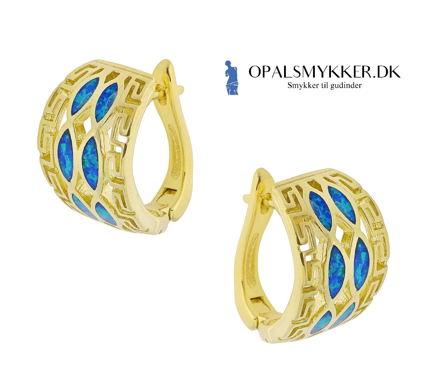 Opal øreringe med guld belægning