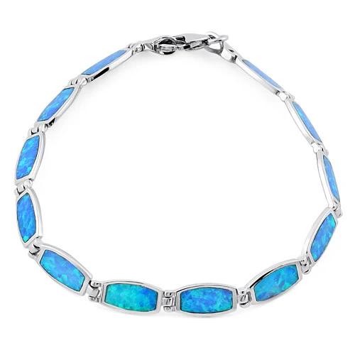Opal armbånd med 925 Sterling sølv og blå opal sten