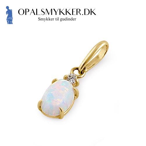 Guld vedhæng med hvid opal sten