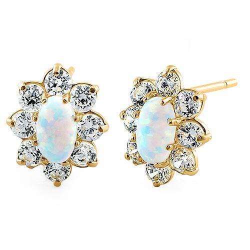 Oval guld øreringe med hvid opal sten