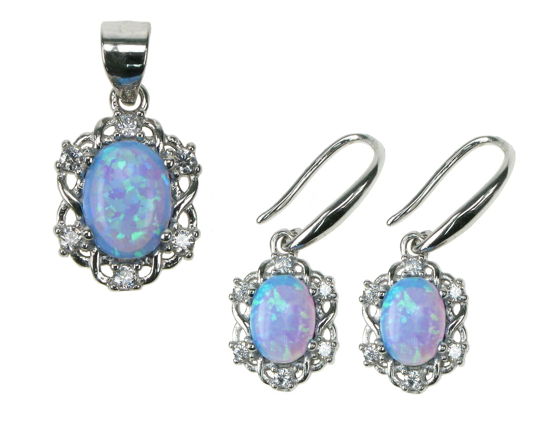 Oval opal smykkesæt med 925 Sterling sølv