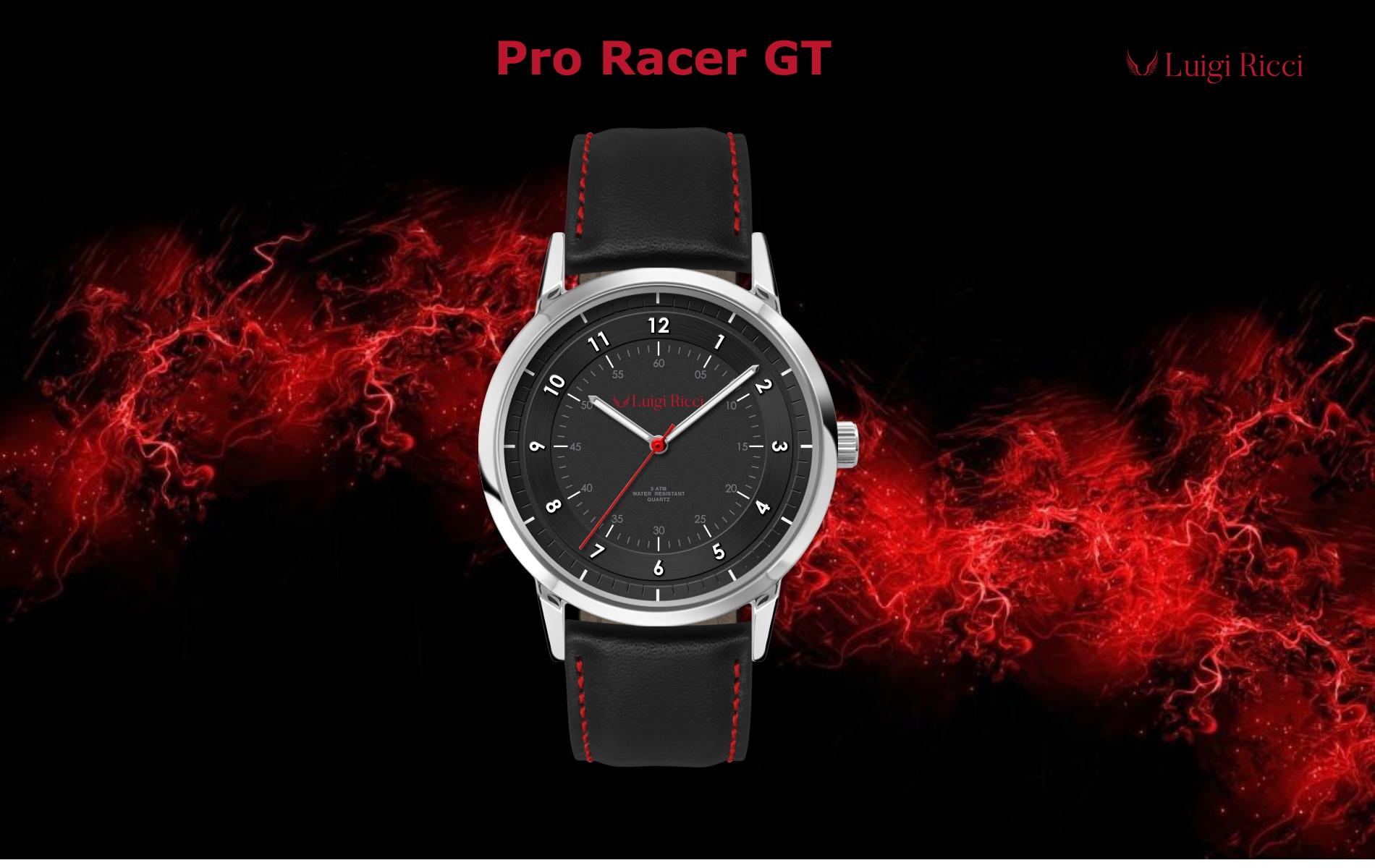 Luigi Ricci Pro Racer GT sort sports ur til mænd med læderrem