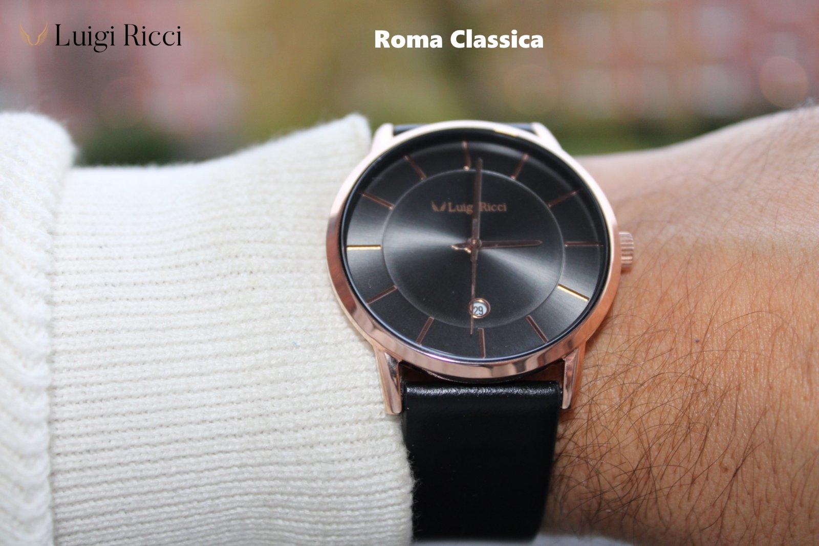 Luigi Ricci Roma Classica - Klassisk sort unisex ur med læder rem