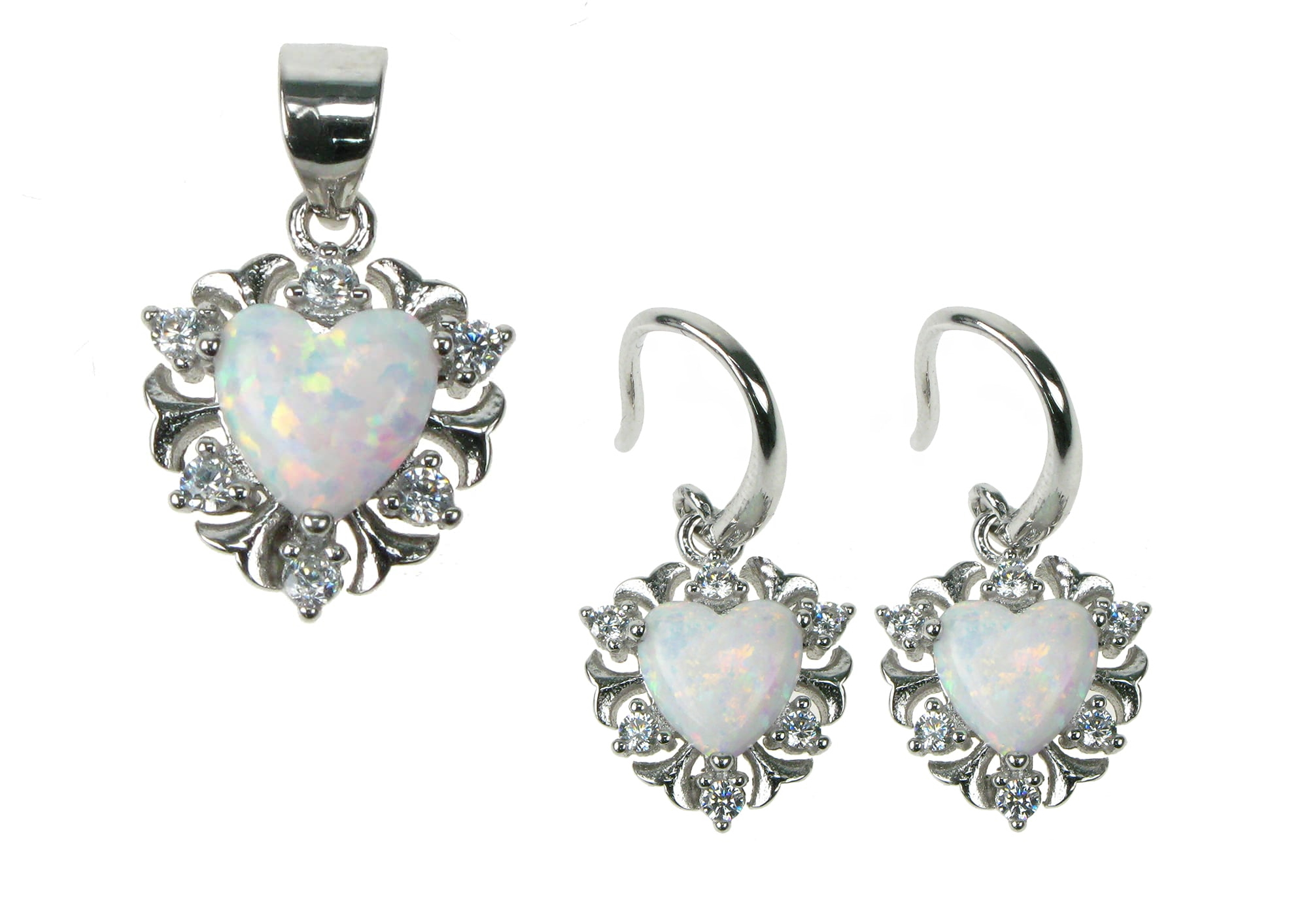 Opal smykkesæt med 925 Sterling sølv