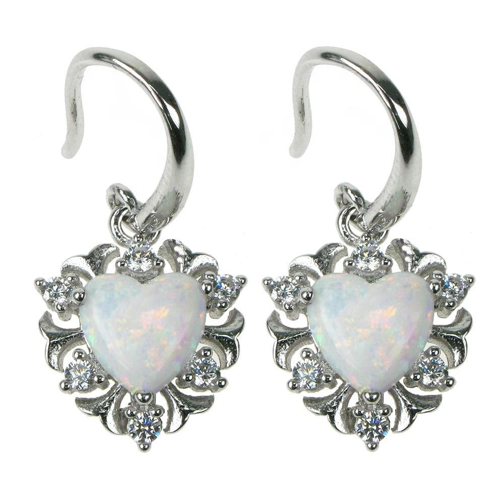 Hjerte sølv øreringe med hvid opal sten