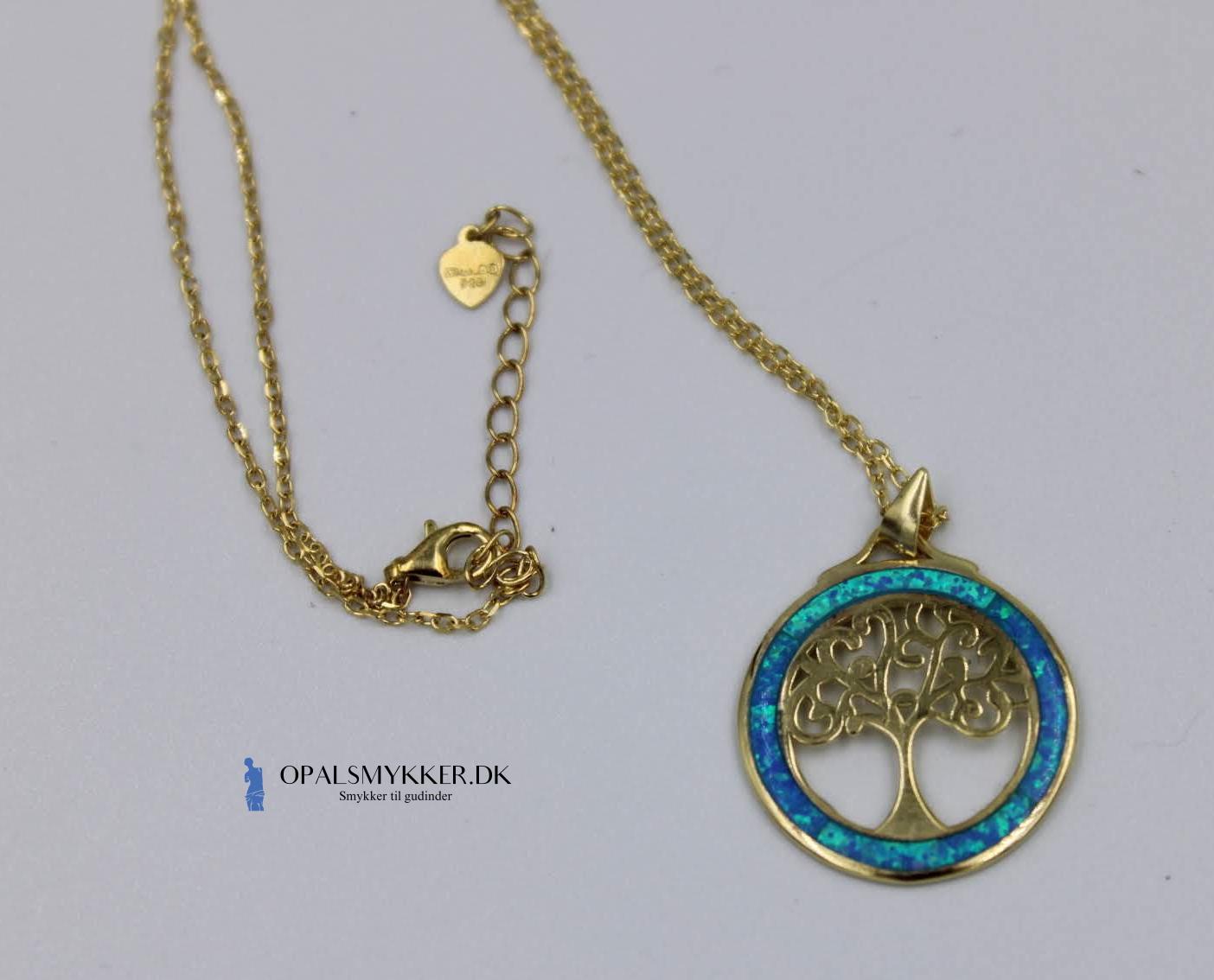 Livets Træ sølv smykke med blå opal sten og guldbelægning